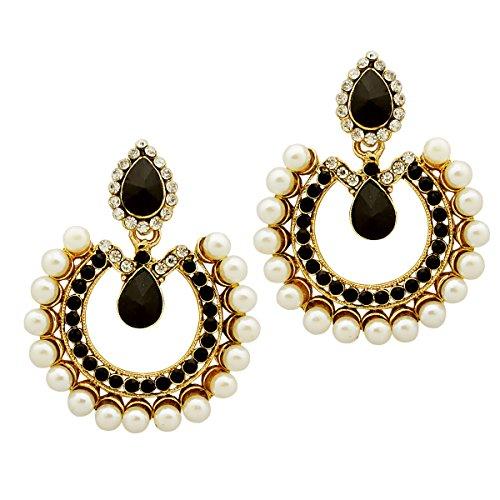 Bollywood Inspired Designer Handcrafted Indian Drop Shaped Dangler Earrings - Black