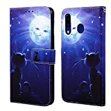 EnjoyCase Wallet Case for Galaxy M30,Colorful Cat Sun Pattern Pu Leather Bookstyle Card Slots Magnetic Flip Cover With Hand Strap for Samsung Galaxy M30