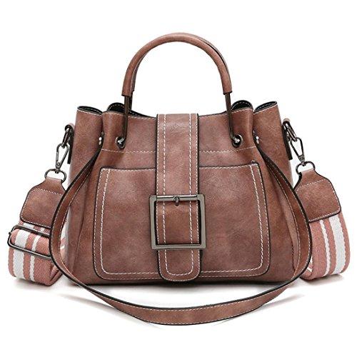 Women Girls Retro Leather Bag Shopping Handbag Shoulder Tote Bag Messenger Crossbody Boho Bag (Pink) Weekender Cross Body
