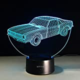 VELAN 3D Lamp New Car Girls Boys Bithday Gift Acrylic Table Night light Furniture Decorative Illusion colorful 7 color change household Desk Accessories