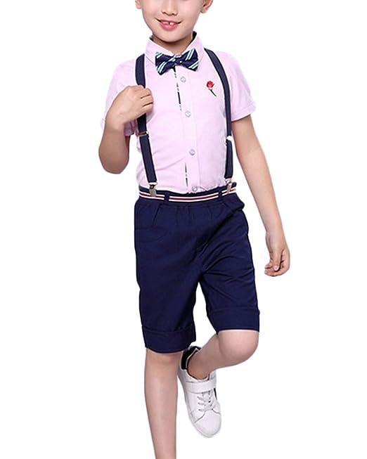 Conjuntos De Niños Ceremonia Esmoquin Blusas Pantalones Tirantes ...
