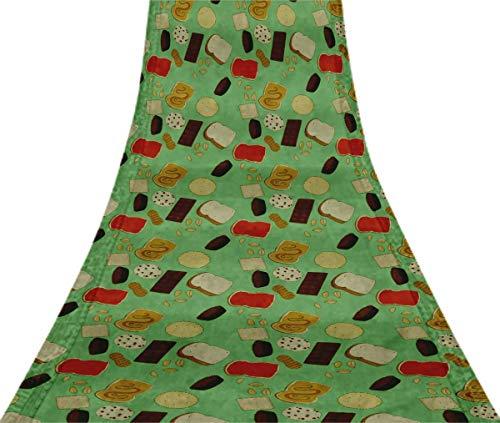 (Svasti Bread Slice & Chocolate Food VintageSareePrinted Mint Green 100% Pure Silk Refurbished Craft Fabric 5 Yard)