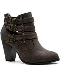 Link Womens Camila-64 Fashion Chunky Heel Buckled Strap Ankle Booties