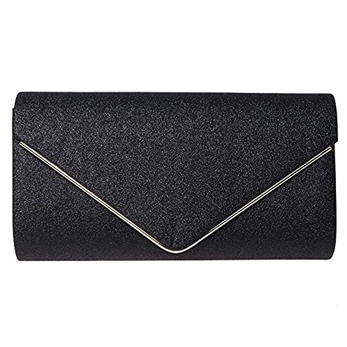 Orfila Chain Bag Evening Bag Purse Shoulder Flashing Glitter Crossbody Clutch Party Handbag Women Black rwzRpr