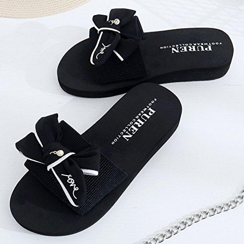 Vertvie Damen Pantoletten Sommer Schuhe Strand Komfort Sandalen Hausschuhe  mit Schleife Love Muster Schwarz 1 ...