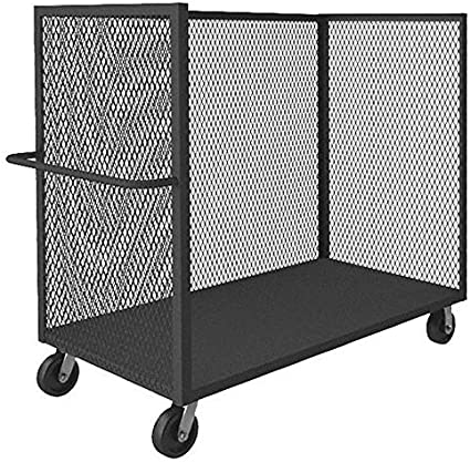 41L x 24W x 40H Gray Steel 3 Sided Mesh Stock Cart 2000 lb Load Capacity