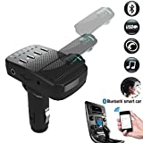 FM Transmitter Bluetooth Receiver Headphone, COSOMO Wireless Radio Car Kit Adapter with USB Charger, Hands Free&Headset Calling(Any Car Of Music Smart Online)