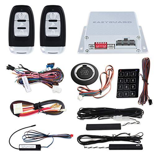 Remote Car Engine Starter - EASYGUARD EC002 Smart Key RFID PKE Car Alarm System Passive Keyless Entry Remote Engine Start Starter Push Start Button & Touch Password Entry Hopping Code