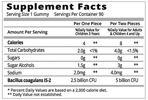 Probiotic Sugar-Free Gummies Supplement for Digestive Health & Immunity | Most Optimal with 5 Billion CFU Probiotics for Women, Men and Kids | 100% Natural & Vegan | GMO-Free. 90 Count