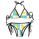Funny Rubber Duck Womens Sexy Thong Soft Padded Bikini Set Two Piece Swimsuits One Size