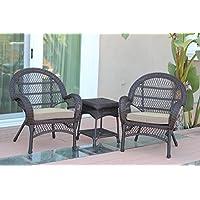 Jeco W00208-C_2-CES006 3 Piece Santa Maria Wicker Chair Set with Tan Cushions, Espresso