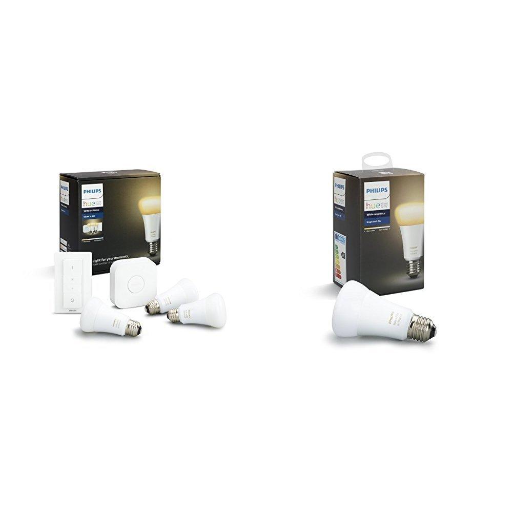 Philips Hue White Ambiance - Kit de 2 bombillas LED E27, puente e interruptor o mando, 9,5 W, iluminació n inteligente, luz blanca cá lida y frí a regulable, compatible, Apple HomeKit y Google Home iluminación inteligente 8718696548752