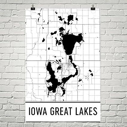 Amazon Com Iowa Great Lakes Ia Great Lakes Iowa Great Lakes Map