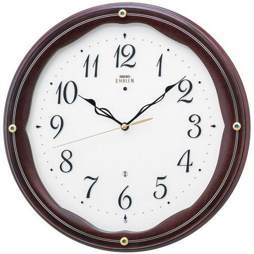 (セイコークロック) SEIKO CLOCK EMBLEM エンブレム 電波 壁掛け時計 HS551B スイープセコンド 木枠 マホガニー茶木地塗装 アナログ B01CJVDR8Y