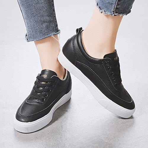 Aisun Damen Fashionable Runde Zehe Low-Top Niedrig Keilabsatz Schnürsenkel Sneakers Schwarz 36 EU SoYBMc