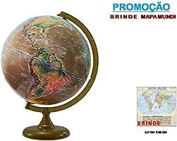 Globo Terrestre Satélite - Físico e Histórico + Brinde Mapa Mundi