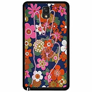 Peace Sign on Floral Background TPU RUBBER SILICONE Phone Case Back Cover Samsung Galaxy Note III 3 N9002