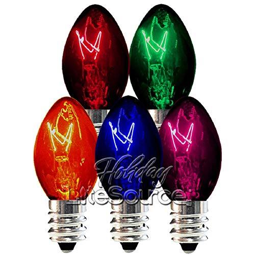 SHL C7 - Transparent Multi-Color - Triple Dipped - 5 Watt - Candelabra Base - Christmas Lights - 25 Pack