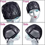 Black Lace Wig Caps For Making Wigs Hair Net with Adjustable Straps Swiss Lace Frontal Wigs Caps for Black Women