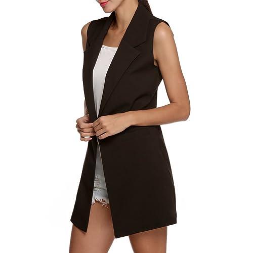 Highdas Mujeres Chaleco largo sin mangas del chaleco de la manera del estilo de la chaqueta Outwear ...