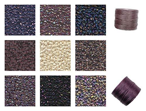 90g Grams Long Magatama Bead Mix Miyuki. Violet, Amethyst, Lilac, Orchid, Lavender. 9 Colors, 10g Each Plus 2 spools Cord. Kumihimo, Peyote, Macrame.