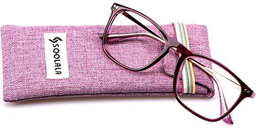 SOOLALA Designer Large Horn Rimmed Clear Lens Eyeglass Frame Reading Glasses, +1.0, Red