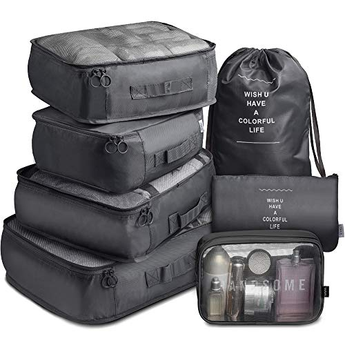 Packing Cubes 7 Set Lightweight Travel Luggage Organizers with Laundry Bag or Toiletry Bag (Black)