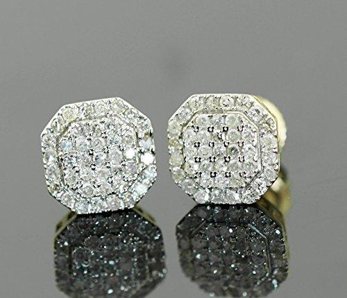 10K 금 다이아몬드 귀걸이 망 또는 Womnes 7mm 정지 신호 귀걸이 ..