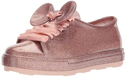Mini Melissa Girls' Mel BE + Disney Sneaker, Pink Glitter, 13 M US Little Kid