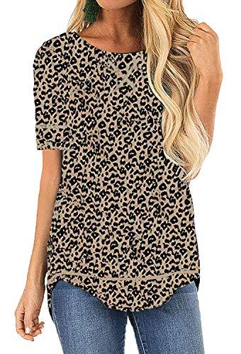OURS Women's Casual Cute Shirts Leopard Print Tops Basic Short Sleeve Soft Blouse (S, - Leopard Print Cotton