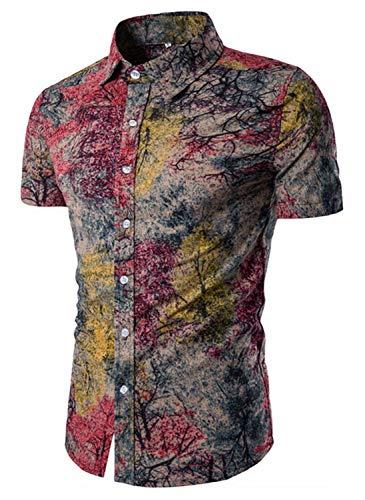EMAOR Mens Hawaiian Floral Shirt Casual Button Down Short Sleeve Shirt Tops, Tag 5XL=US - Hawaiian Blend Shirt Cotton