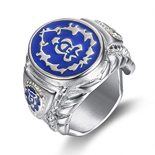 (World of Warcraft Alliance Badge Signet Ring Titanium Steel Jewelry for Wow Fans Size)