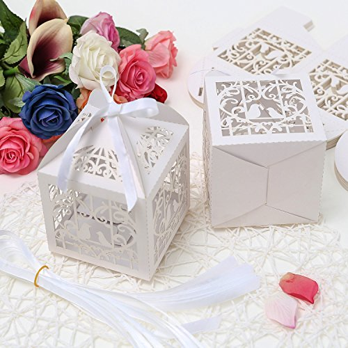 PONATIA 25Pcs/Lot 4 x 4 inches Laser Cut Pearl Paper Party Wedding Favor Ribbon Candy Boxes Large Size Gift Box for Cupcake (White Birds) -