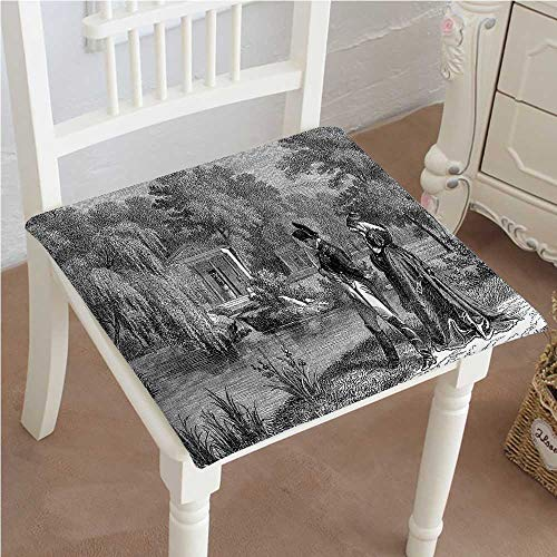 - Mikihome Premium Comfort Seat Cushion French Revolution Sketch with Napoleon and Woman in Garden Dark Grey Black Cushion for Office Chair Car Seat Cushion 28