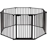 Costzon Baby Safety Gate, 4-in-1 Fireplace Fence, Wide Barrier Gate with Walk-Through Door in Two Directions, Add/Decrease Panels Directly, Wall-Mount Metal Gate for Pet & Child, Door (Black, 8-Panel)