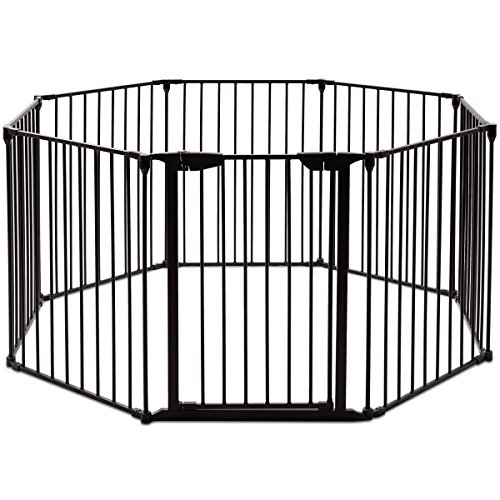 Costzon Baby Safety Gate, 4-in-1 Fireplace Fence, Wide Barrier Gate with Walk-Through Door in Two Directions, Add/Decrease Panels Directly, Wall-Mount Metal Gate for Pet & Child, Door (Black, 8-Panel) ()