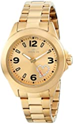 """Invicta Women's 17933 """"Angel"""" Gold-Tone Watch with White Crystal Heart on Dial"""