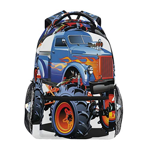CANCAKA Cartoon Monster Truck Huge Tyres Off-Road Heavy Large Tractor Wheels Turbo Lightweight School Backpack Students College Bag Travel Hiking Camping Bags