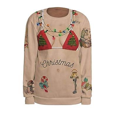 5afd1c54301c Luckycat Weihnachtspulli Christmas Sweater Damen Sweatshirt Pullover Merry  Christmas Rentier Weihnachten Pulli Elf Sweatshirt Cardigan Strickpullover
