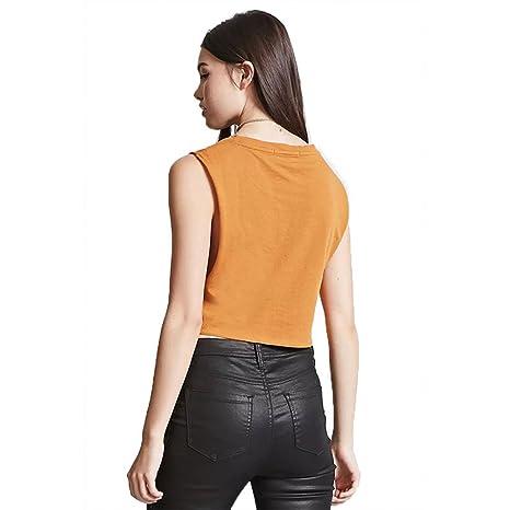 YuanDian Mujer Verano Casual Cuello Redondo Sin Mangas Suelto Corta Camisas Blusas Delantero Anudada Chaleco Tops Caqui XL: Amazon.es: Ropa y accesorios