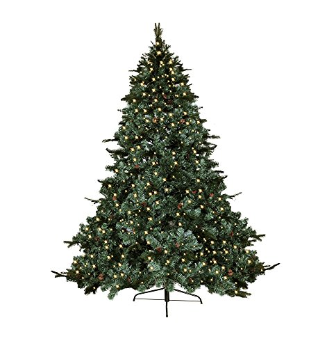 7.5' FT CLASSIC EVERGREEN HOLIDAY ARTIFICIAL GREEN PRE LIT LED LIGHT UP BULBS MIXED PE/PVC TIPS WITH DECOR PINE NUTS EIGHTS FEET PRELIT CHRISTMAS TREE