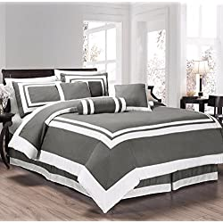 Chezmoi Collection 7 Pieces Caprice Gray/White Square Pattern Hotel Bedding Comforter Set (California King, Gray/White)