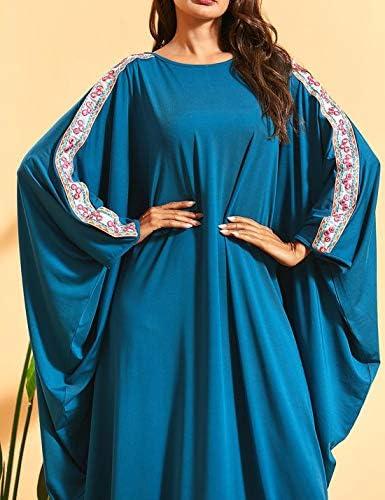 Flygo Women's Batwing Plaid Floral Printed Long Short Sleeves Oversized Maxi Dress Sleep Loungewear