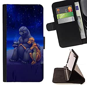 DEVIL CASE - FOR Samsung Galaxy S5 Mini, SM-G800 - Aliens Art Cute Love Romance Stars Universe - Style PU Leather Case Wallet Flip Stand Flap Closure Cover