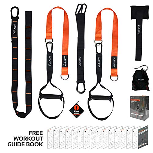 Vulken Suspension Trainer, CoreSlings Basic Home Suspension Training Kit Full Body Workouts for Your Home Gym, Travel, and Outdoors, Lightweight & Portable Core Workout Fitness Tools Including Workout (Best Suspension Trainer Workout)