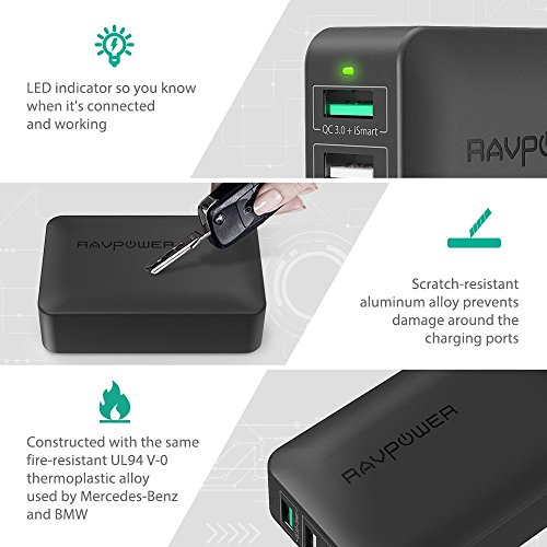 USB Quick Charger RAVPower 40W 4-Port Quick Charge 3.0 Fast Charger Desktop Charger Charging Station for Galaxy S9 S8 S7 S6 Edge, Note 5 and iSmart for iPhone 8 7 6 Plus, iPad, LG, Nexus 6, HTC by RAVPower (Image #3)