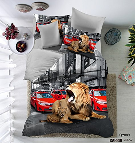 3D Lion Printed Cars Design Microfiber Home Textile Bedding Sets for Boys Kids 3PC Duvet Cover Set Black/Grey Queen (without Comforter and Flat Sheet)