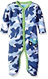 BON BEBE Baby Boys' Footed Coverall with Applique, Camo Blue, 0-3 Months