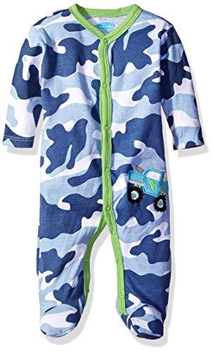 BON BEBE Boys' Footed Coverall with Applique, Camo Blue, 6-9 Months