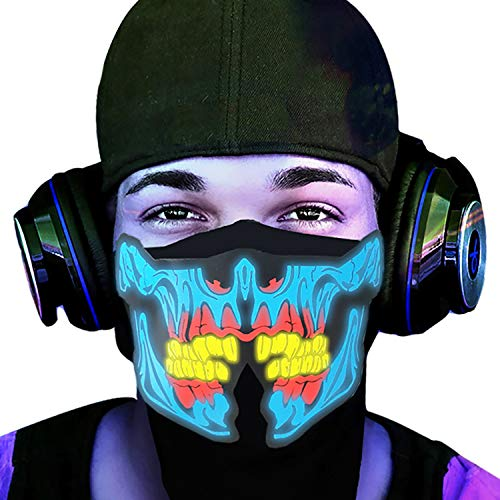 (FEIYOLD LED Halloween Mask, Sound Activated Light Up Mask, Music Party Mask Cosplay Mask for DJ& Festival)